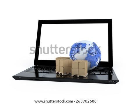 3D world globe map and box on a laptop computer isolated on white  - stock photo