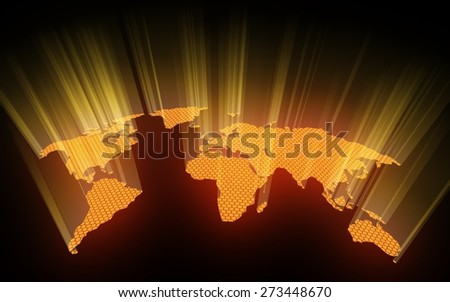 3D. World Map, Earth, Global Communications. - stock photo