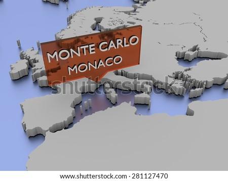 3d world map illustration - Monte Carlo, Monaco - stock photo
