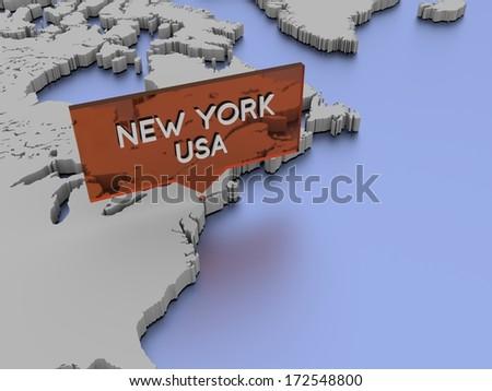 3d world map illustration - New York, USA - stock photo