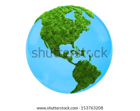 3D world map in grass focus on America - isolated over a white background - stock photo