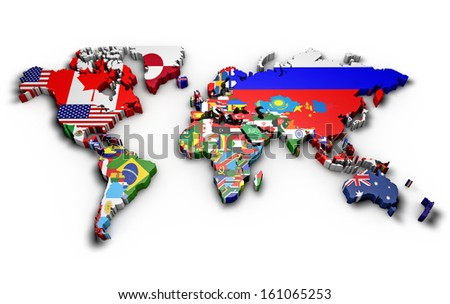 3 d world map world flags raised stock illustration 161065253 3d world map with world flags raised gumiabroncs Image collections