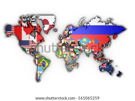 3 d world map world flags raised stock illustration 161065259 3d world map with world flags raised gumiabroncs Gallery