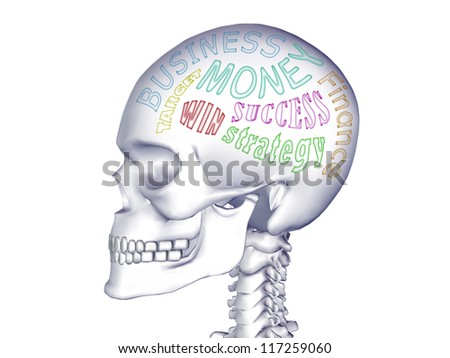 3d X-ray of business man skull