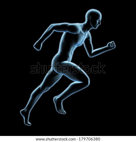 3d x-ray running man isolated on black background - stock photo