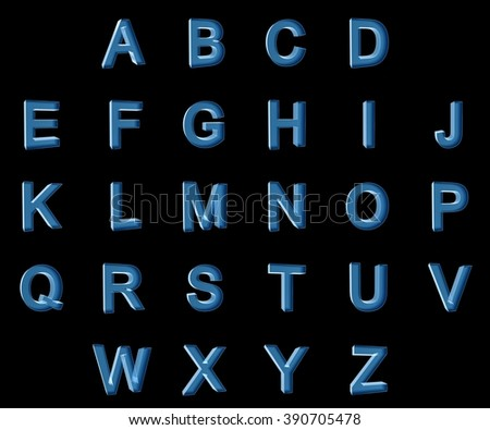3d xray font with each character in perspective on a white background