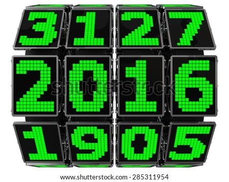 3d year counter mechanism with LCD screens  (hi tech mechanics) - stock photo