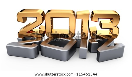 3D 2013 year golden figures with shadow... - stock photo