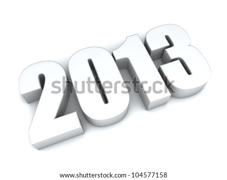 3D 2013 year white figures with shadow. - stock photo