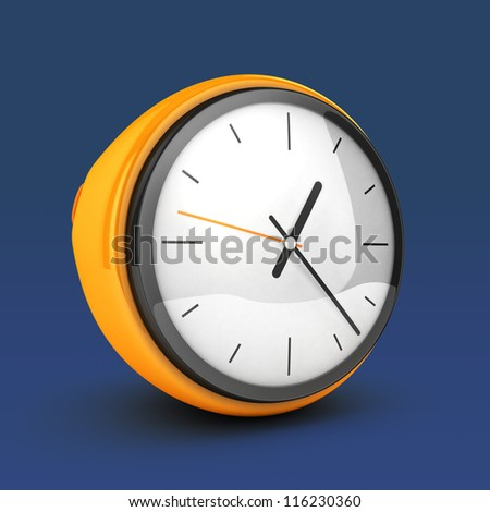 3D Yellow Clock blue isolated - stock photo