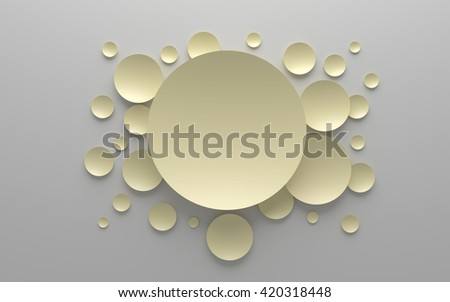3D  yellow colored abstract composition on a gray background - stock photo