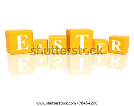 3d yellow cubes with letters makes Easter - stock photo