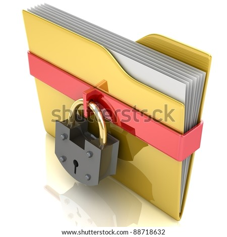 3D yellow folder and lock. Data security concept.