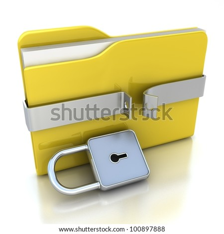 3D yellow folder and unlocked lock. Security concept. - stock photo