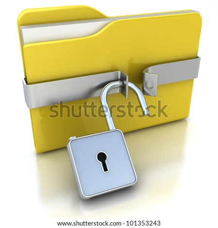 3D yellow folder and unlocked lock. Security concept.
