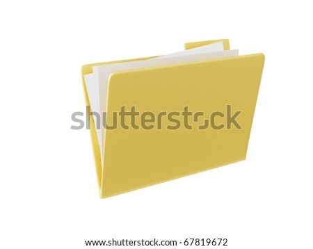 3d yellow folder icon isolated in white background