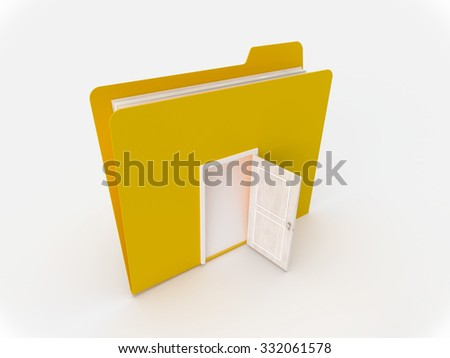 3D Yellow folder with door open on a white background