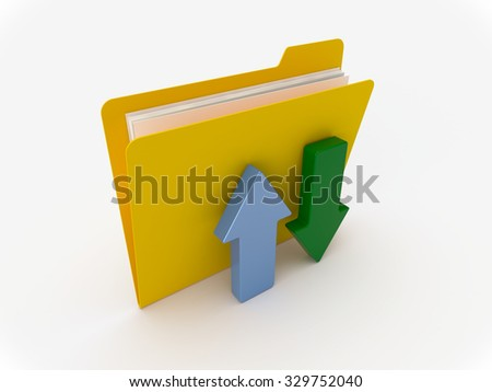 3D Yellow folder with green and blue arrow on a white background