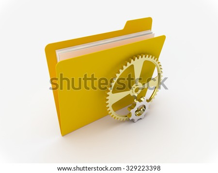 3D Yellow folder with metallic gears on a white background