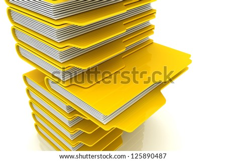 3D Yellow Folders Shelf