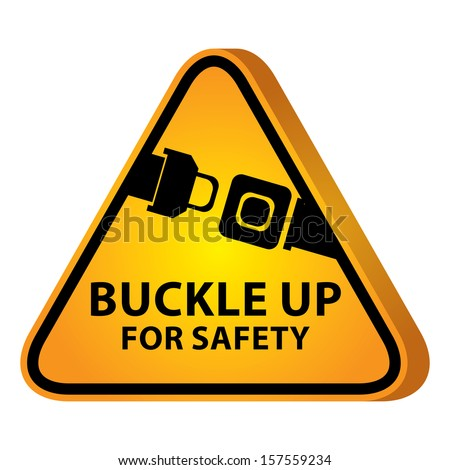 3D Yellow Glossy Style Triangle Caution Plate For Safety Present By Buckle Up For Safety With Seat Belt or Safety Belt Sign Isolated on White Background  - stock photo