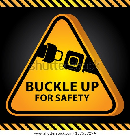 3D Yellow Glossy Style Triangle Caution Plate For Safety Present By Buckle Up For Safety With Seat Belt or Safety Belt Sign in Dark Background  - stock photo