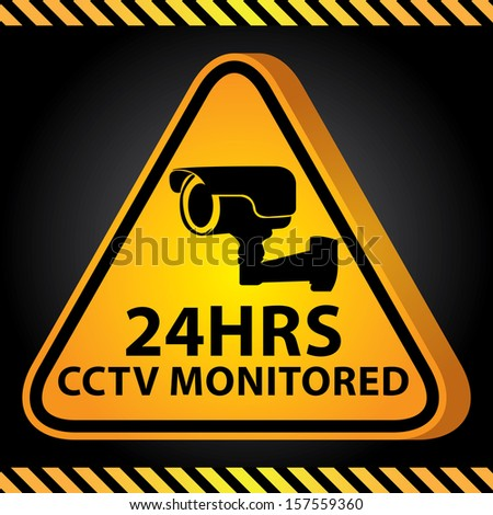 3D Yellow Glossy Style Triangle Caution Plate For Safety Present By 24HRS CCTV Monitored With CCTV or Surveillance Camera Sign in Dark Background  - stock photo