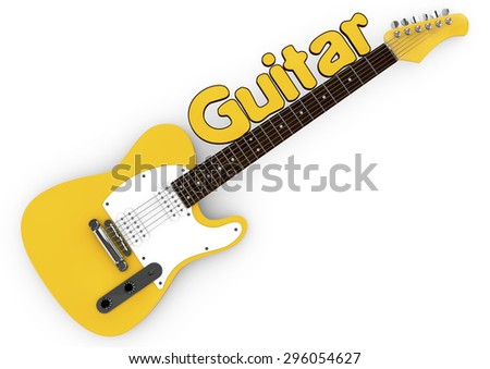 3d Yellow guitar isolated on white background with the word guitar on the mast