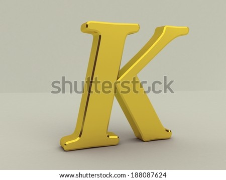 3d yellow letter k isolated white background  - stock photo