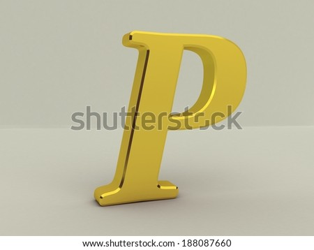 3d yellow letter p isolated white background  - stock photo