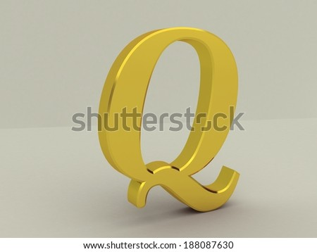 3d yellow letter q isolated white background  - stock photo