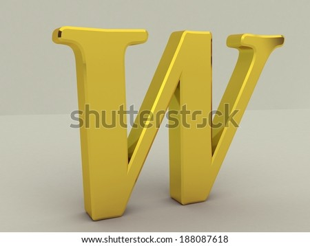 3d yellow letter w isolated white background  - stock photo