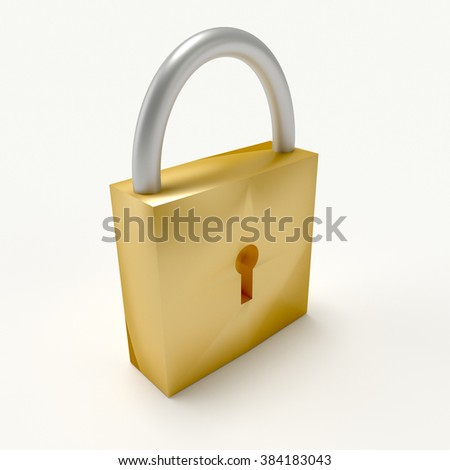 3d yellow lock isolated on white background