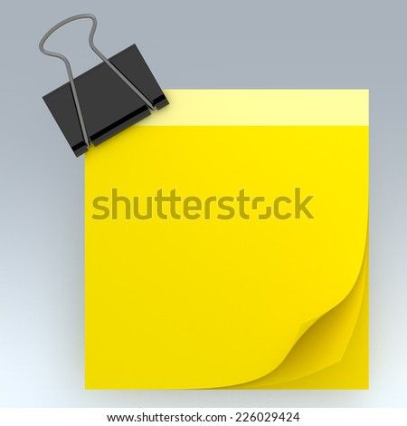 3D yellow note papers curl and clip in isolated background with work paths, clipping paths included - stock photo