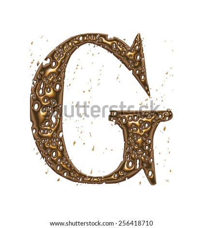 3D yellow shiny golden metal letter G isolated on white background - stock photo