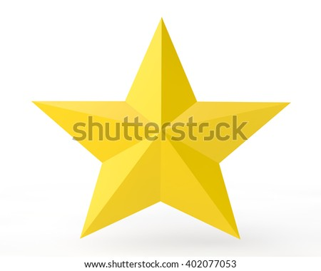 3D yellow star on white background illustration 3d rendering