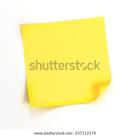 3d yellow stick ynote on white background
