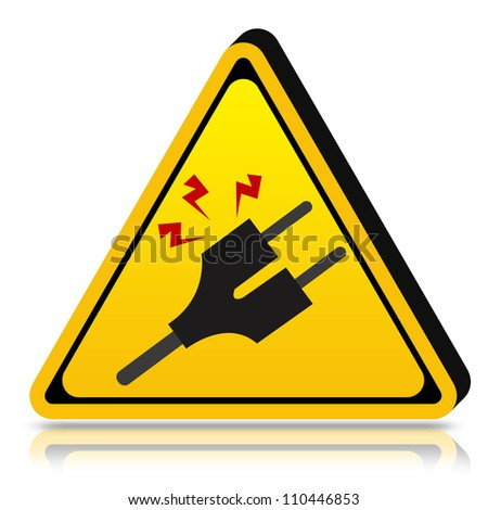 3d Yellow Triangle High Voltage Warning Sign in Isolated on White Background