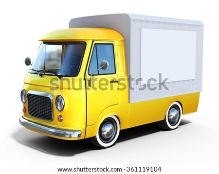 3d yellow vintage van on white background - stock photo