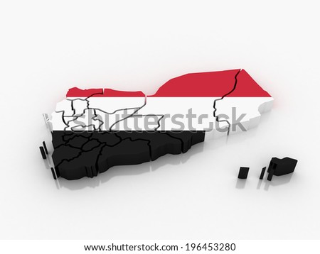 3d Yemen administrative map with flag - stock photo