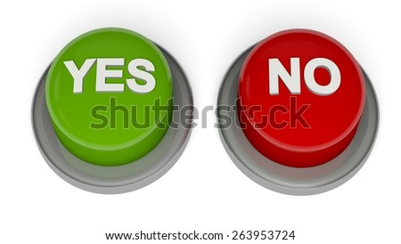 3D. Yes, No, Choice. - stock photo
