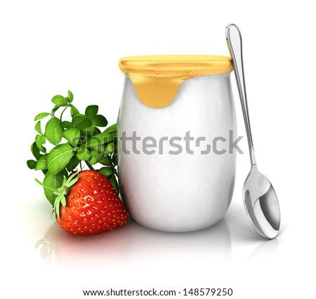 3d yoghurt with a strawberry, isolated white background, 3d image - stock photo