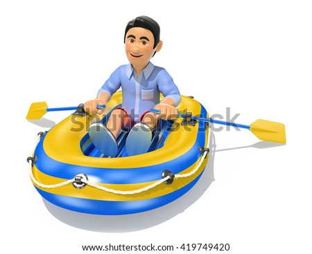 3d young people illustration. Man in shorts paddling a inflatable boat. Isolated white background. - stock photo