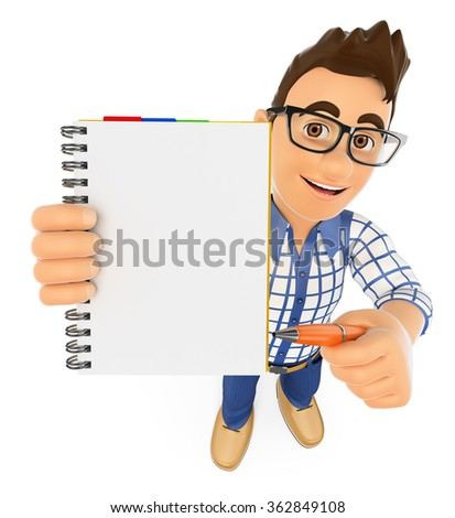 3d young people. Student with a blank notepad and a pen. Isolated white background. - stock photo