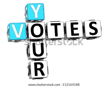 3D Your Votes Crossword on white background - stock photo