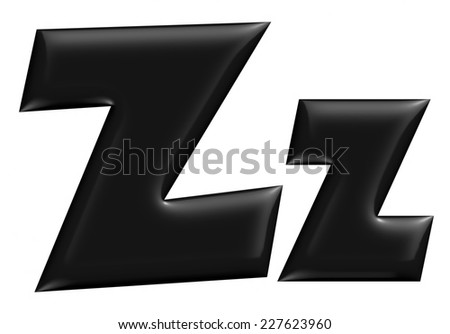 3D Z alphabet with small later in black on isolated white background. - stock photo