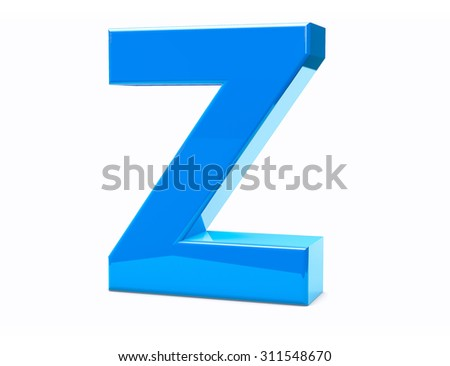 3D Z Isolated Letter Render. Metal Type Character.