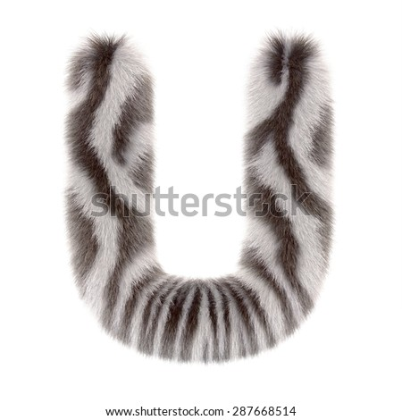"3d ""Zebra"" creative decorative fur letter U"