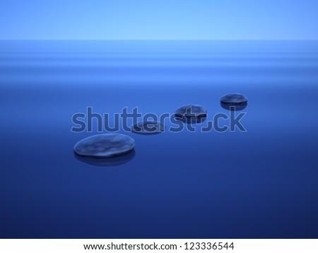 3D Zen stones on water - stock photo