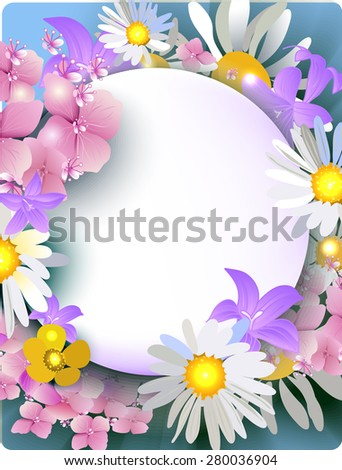 daisies, buttercups, bluebells, hydrangea bouquet of summer flowers for greeting cards, banners, greeting cards, wedding invitations, brochures, business cards, flyers.Raster version - stock photo
